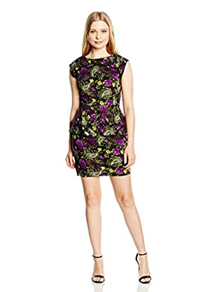 Rare London Kleid Floral Printed Peter Pan Neck Peplum