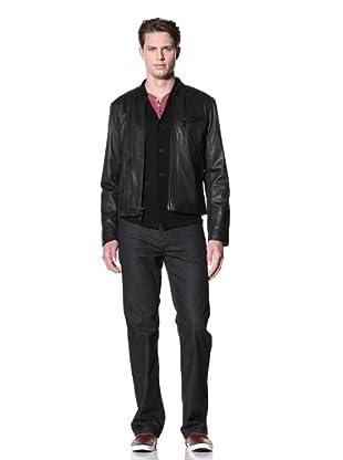John Varvatos Star USA Men's Washed Leather Moto Jacket