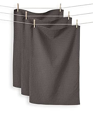 KAF Home Set of 3 Istanbul Waffle Towels, Pewter