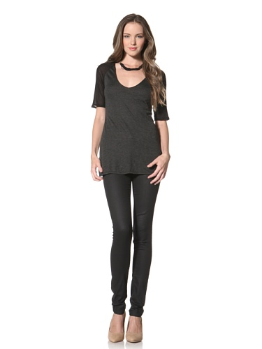 Twenty Tees Women's Short Sleeve Top (Anthracite/Black)