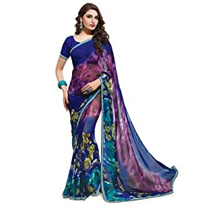 Shangrila Sarees Fancy Georgette Print Sarees With Fancy Embroidery Work Border