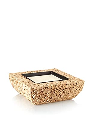 Nine-Wick Candle in Natural Water Hyacinth Bowl, Natural/Ivory