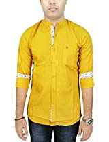AA' Southbay Men's Mustard Linen Cotton Mandarin Collar Long Sleeve Solid Casual Party Shirt