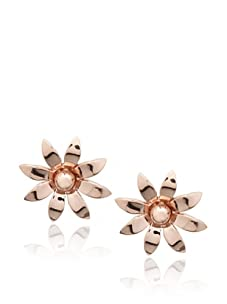 Catherine Angiel Rose Gold Flower Stud Earrings