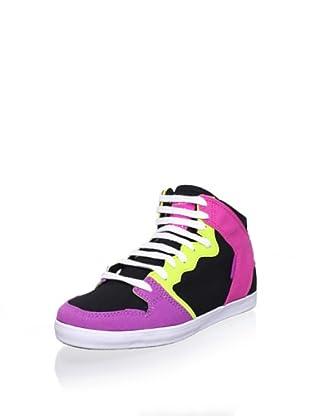 C1RCA Women's 99 Slim Vulc Sneaker (Black/Pink/Lime)