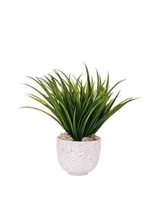 Lux-Art Silks Grass in White Terrazo Pot