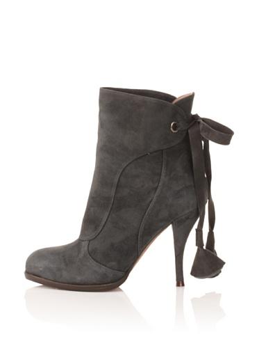Pura Lopez Women's Suede Ankle Boot (Dark Blue Grey)