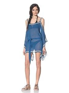 Tikka Women's Cut-Out Sleeve Swim Coverup (Blue)