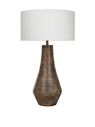Filament Curved Wooden Base Table Lamp, Brown/White