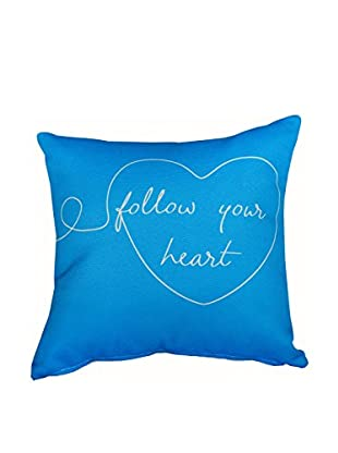 Best seller living Kissen Follow Your Heart blau/weiß
