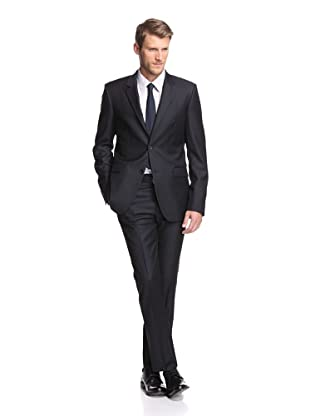 Calvin Klein Collection Men's Bowery 2-Button Slub Stripe Suit (Navy)