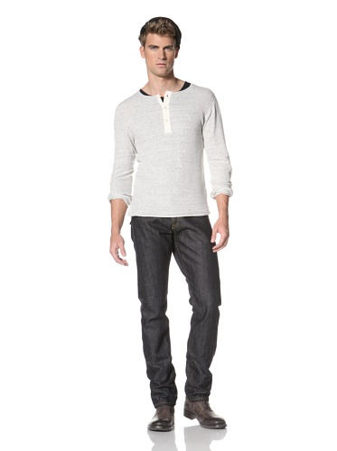 R13 Men's Long Sleeve Henley (Grey Heather)