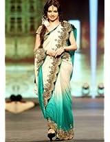 Bhagyashree In Green & White Saree