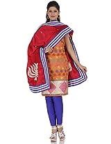 Orange Chanderi Embroidery Suit Dupatta Unstitched