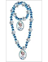 Disney Exclusive Frozen Girls Charm Necklace and Bracelet Set - Assorted Styles(1 Set)