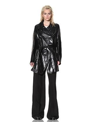 Ann Demeulemeester Women's Long Leather Coat (Black)