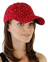 Glitzy Game Crystal Sequin Trim Women's Adjustable Glitter Baseball Cap Hat RED