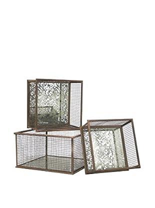 Three Hands Set of 3 Metal Mirror Baskets
