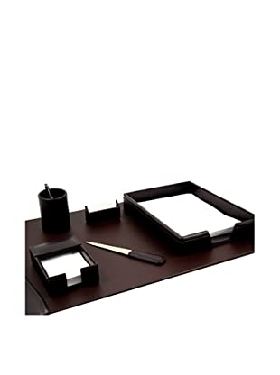 6-Piece Leather Desk Set, Brown