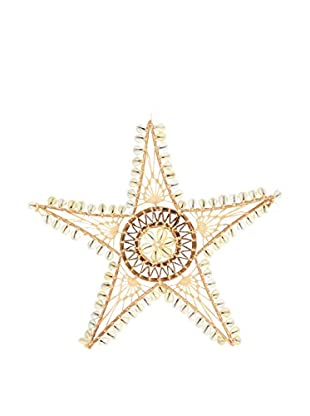 Uptown Down One-of-a-Kind Rattan & Shell Star-Shaped Wall Hanging