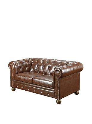 Armen Living Winston Bonded Leather Vintage Loveseat, Mocha