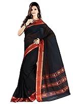 Samskruti Fancy Banhatti Black Pure Cotton Saree with Red Border (SSCS-3)
