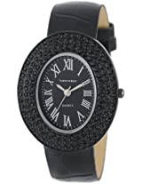 Vernier Women's VNR11061BK Oval Black Crystal S-Tone Bezel Crocodile Pattern Strap Watch