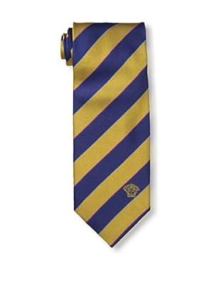 Versace Men's Striped Tie, Gold/Dark Blue