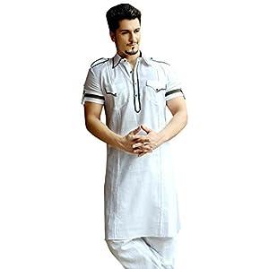 Bharat Plaza Men's White Pathani Suit