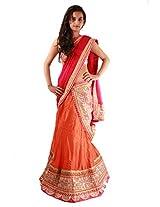 Orange Pink Ceremony Wear Designer Lace Work Bhagalpuri Silk Lehenga Sari