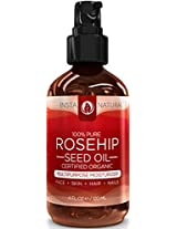 InstaNatural Organic Rosehip Seed Oil - 100% Pure & Unrefined Virgin Oil - Natural Moisturizer for Face, Skin, Hair, Stretch Marks, Scars, Wrinkles & Fine Lines - Omega 6, Vitamin A & C - 4 Oz