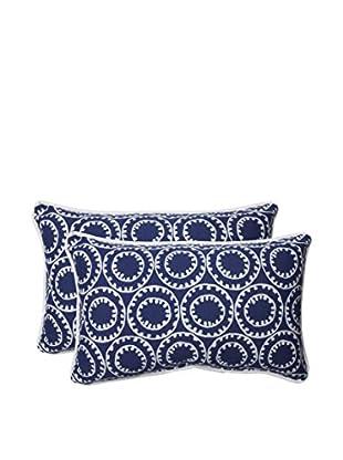 Pillow Perfect Set of 2 Indoor/Outdoor Ring A Bell Navy Lumbar Pillows, Blue