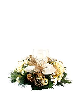 Creative Displays Holiday Candle Centerpiece, Crème/Gold/Green