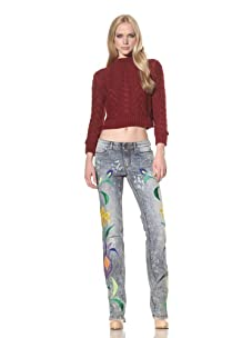 D&G by Dolce & Gabbana Women's Embroidered Jean (Grey Multi)