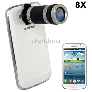 8X Zoom Lens Mobile Phone Telescope + Crystal Case for Samsung Galaxy Grand DUOS / i9082