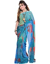 Exotic India Green and Blue Shaded Casual Saree with Digital-Printed Rose - Blue