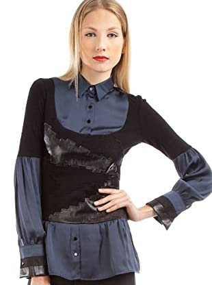 Custo Camisa Carmecita Butterfly (Negro / Azul Oscuro)