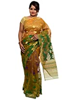 Breathtaking Gold Dhakai Jamdani Cotton Silk Saree (JOSR0000095, Gold)