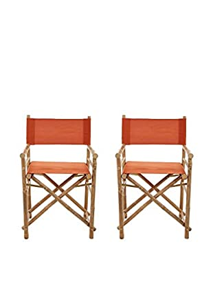 ZEW, Inc. Set of 2 Bamboo Director Chairs, Pottery
