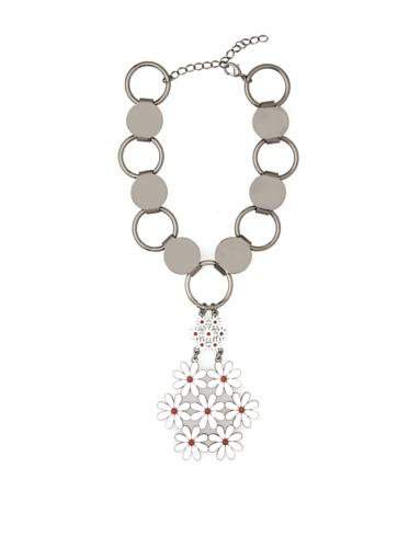 Tuleste Market Floral Pendant Necklace, Gunmetal/White