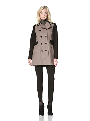 Kensie Women's Double-Breasted Colorblock Coat (Black/Taupe)