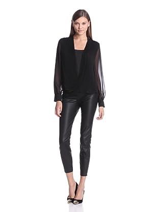 Calvin Klein Women's Pleated Wrap Top (Black)