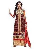 Atisundar Women Faux Georgette Dress Material (6661_30_48006 _Black And Red _30)