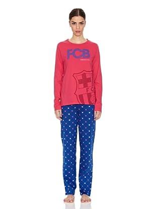 Licencias Pijama Mujer Escudo Grande Fútbol Club Barcelona (Frambuesa / Azul)