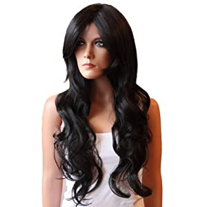 Prettyshop Lady Wig Long Hair Cosplay Curled Wavy Black Brown Heat-Resistant Like Real Human Hair Fp...