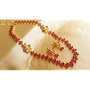 Extremely Beautiful Temple Jewellery Set with Ruby's