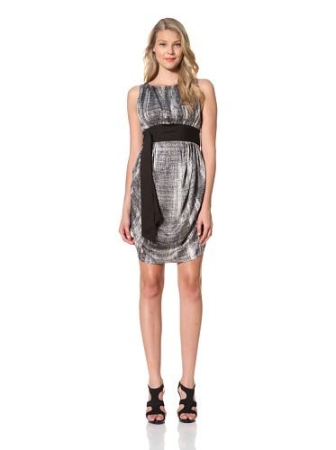 Eva Franco Women's Cara Sleeveless Printed Dress with Gathered Skirt (Graphite)
