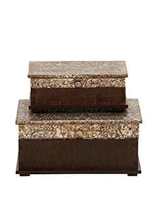 2-Piece Wood & Embossed Aluminum Decorative Box Set