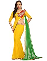 Utsav Fashion Women's Yellow and Green Faux Georgette Saree with Blouse