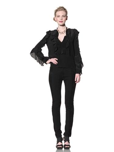 Just Cavalli Women's Ruffle Blouse (Black)